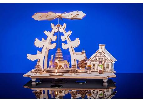 Teelichtpyramide mit Räucherhaus